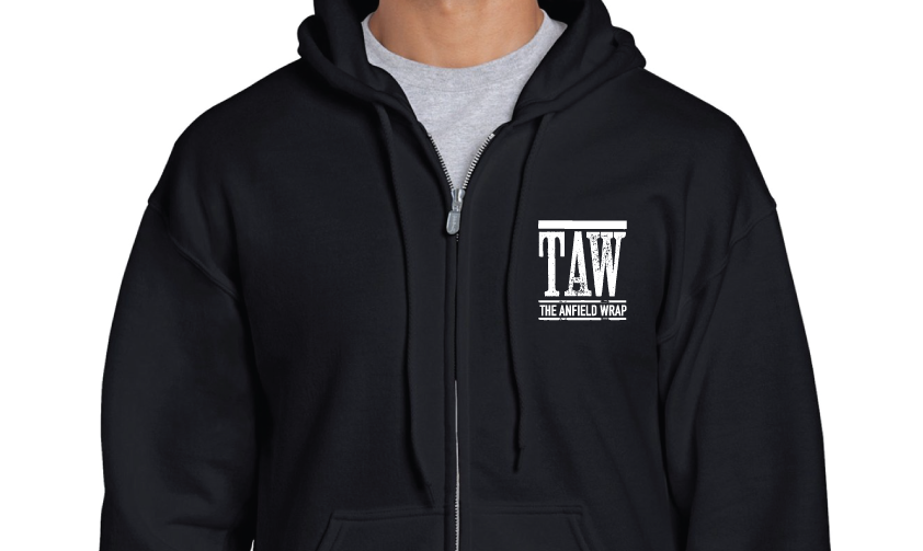 BLACK ZIPPED HOODIE PRINTED WITH WHITE TAW DESIGN