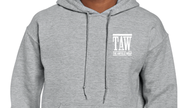 GREY HOODIE PRINTED WITH WHITE TAW DESIGN - SMALL ONLY