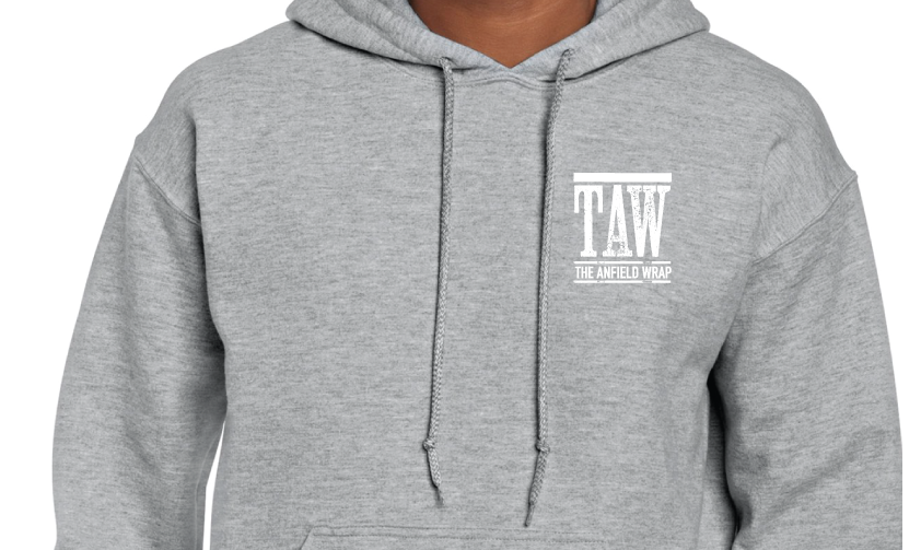 GREY HOODY PRINTED WITH WHITE TAW DESIGN