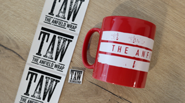 The Anfield Wrap Mug, Stickers and Badges Set