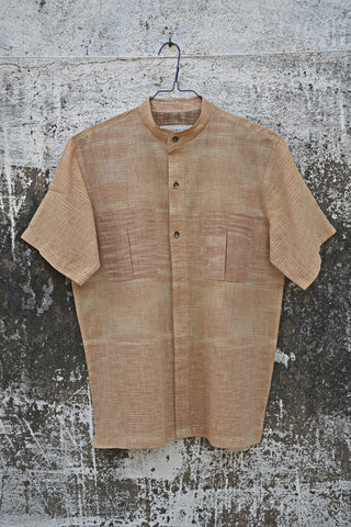 Pale straw colour Half Sleeves Shirt for Men.