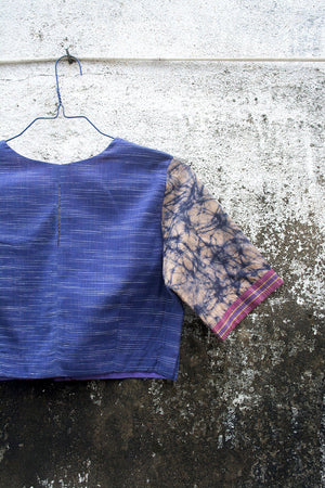 Ink-Blue Space-Dyed Saree Blouse. - metaphorracha