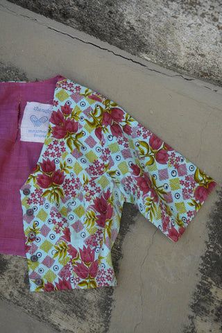 Gypsy pink Print Saree Blouse.