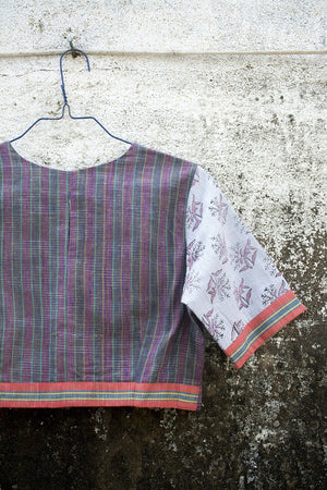 Multi-Coloured Stripes Saree Blouse. - metaphorracha