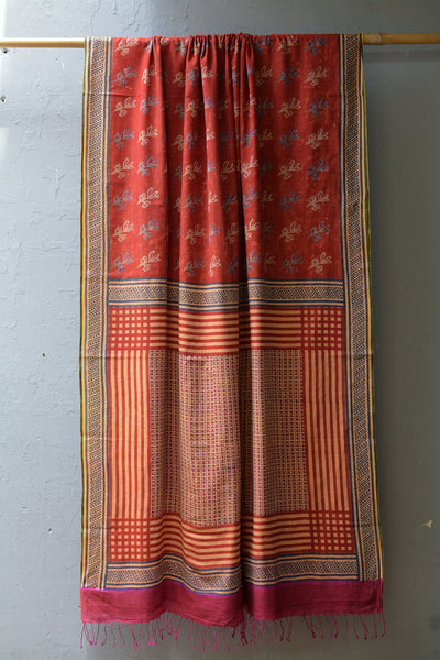Discharge printed cotton muslin stole.