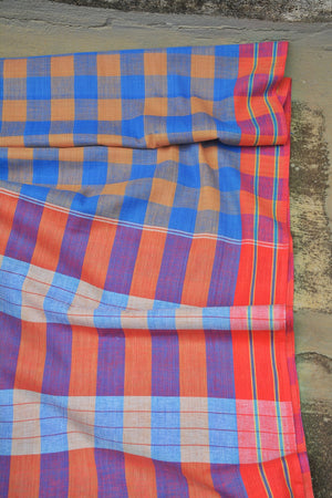 Cornflower Blue Checks Cotton Saree. - metaphorracha