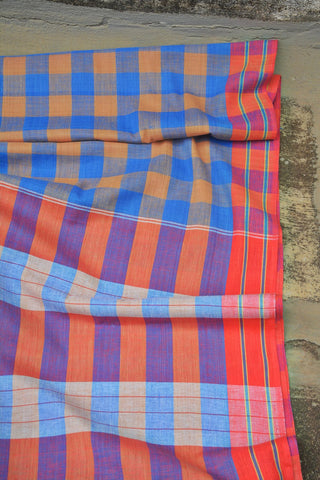 Cornflower Blue Checks Ambara Charaka Spun & Handwoven Cotton Saree.