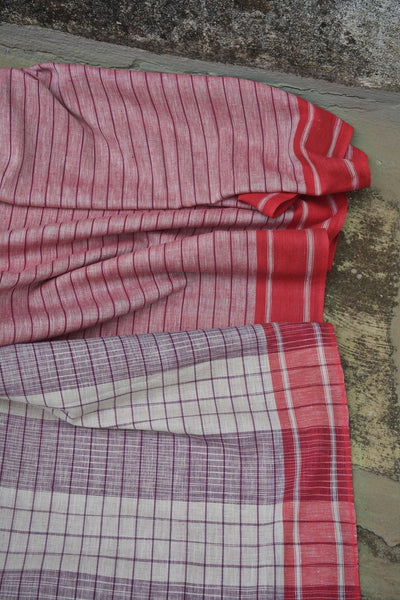 Spanish Pink Striped Ambara Charaka Spun & Handwoven Cotton Saree.