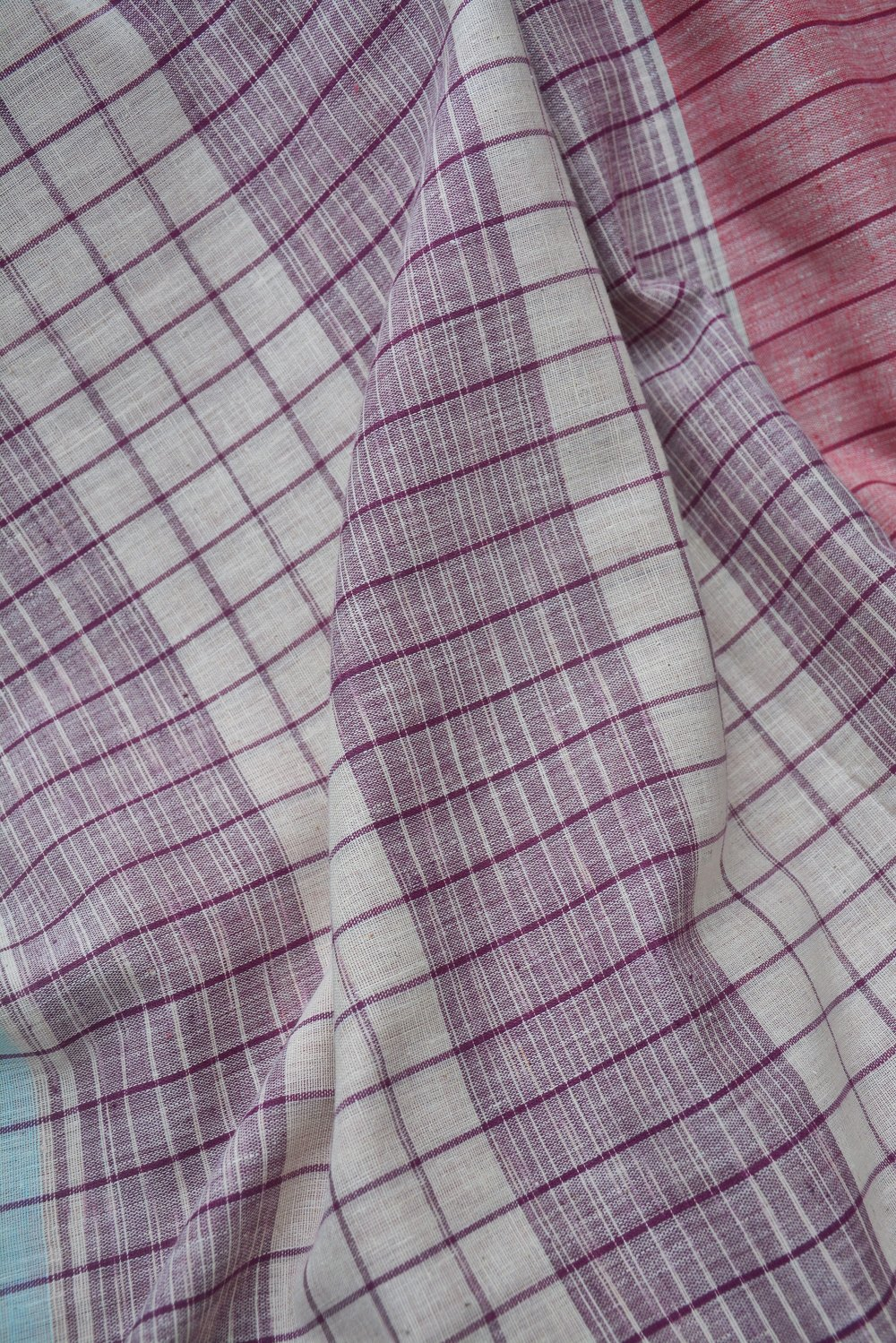 Spanish Pink Striped Cotton Saree. - metaphorracha