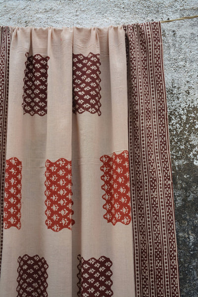 3 Colour Syahi-Begar Printed Ambara Charaka Spun & Handwoven Cotton Stole.
