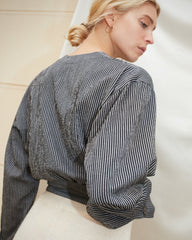 DASHA - Balloon sleeve shirt - Black stripe