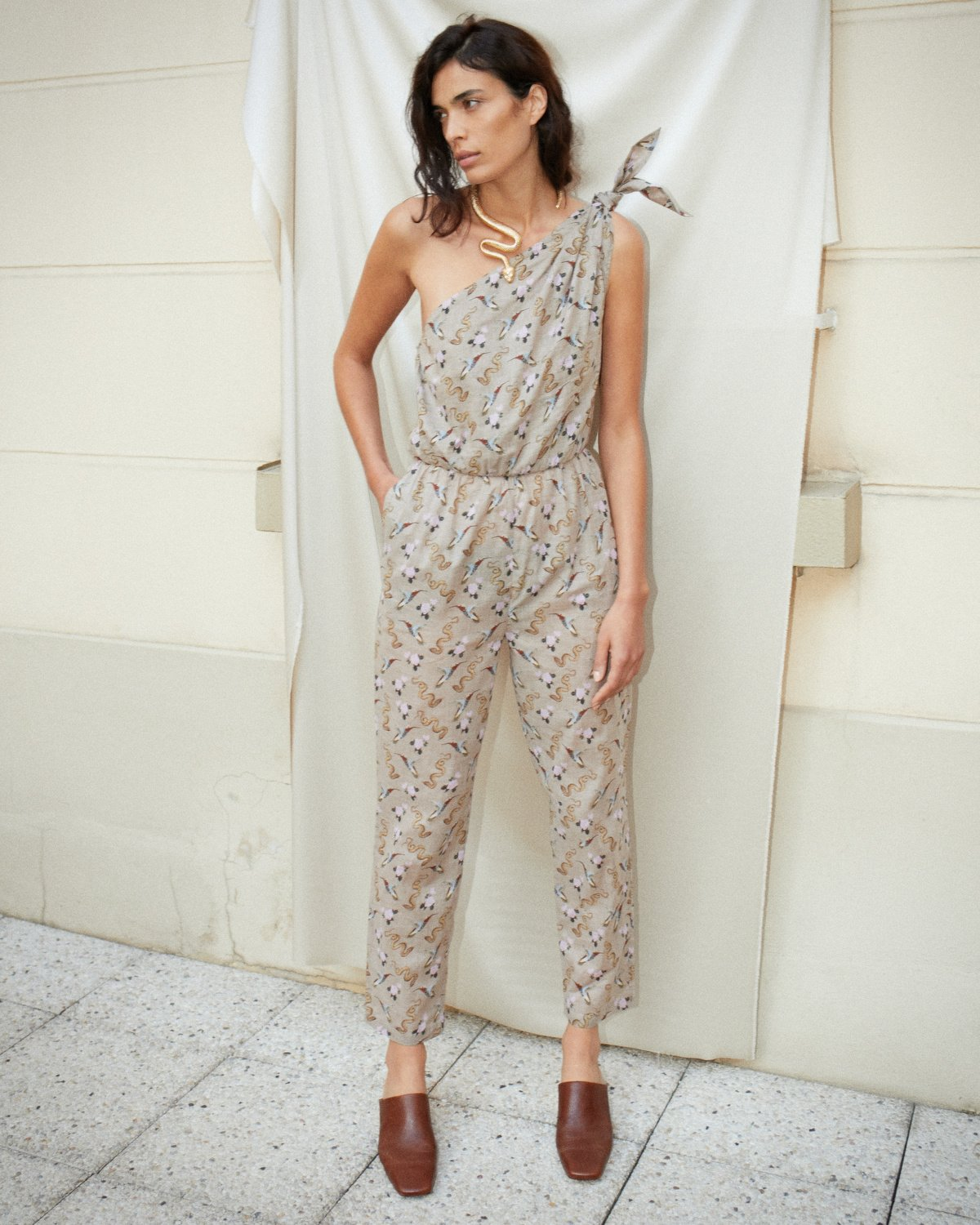NYLA - Asymmetric one-piece jumpsuit - Western print