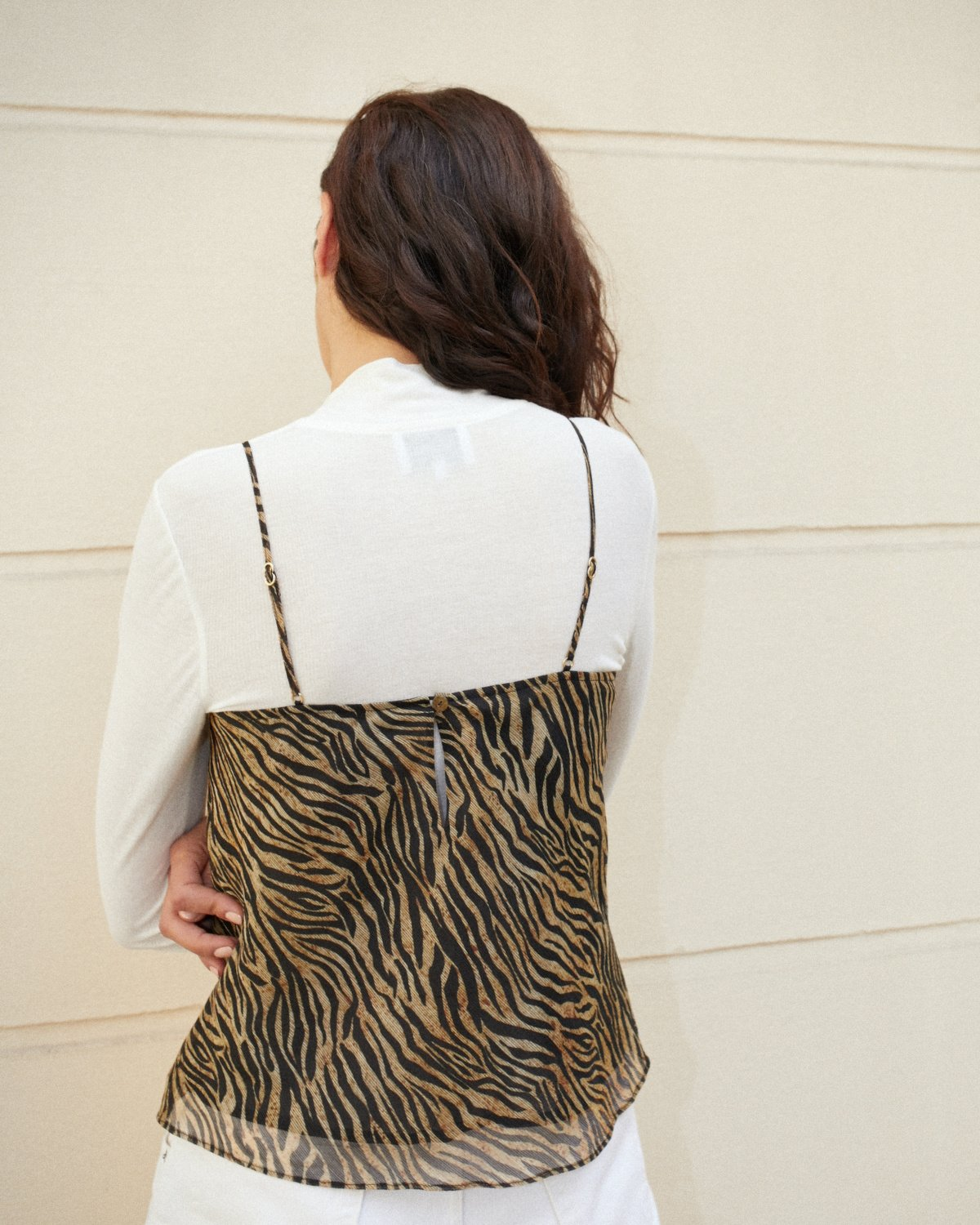 ROSE - Ruched camisole top - Tiger print