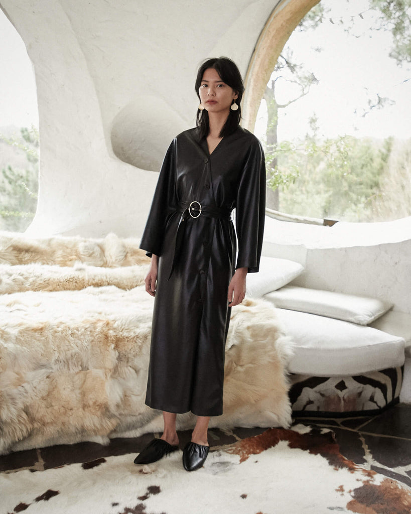 Dress Kimono Leather Black Iben Inspired Vegan W9IDEH2eY