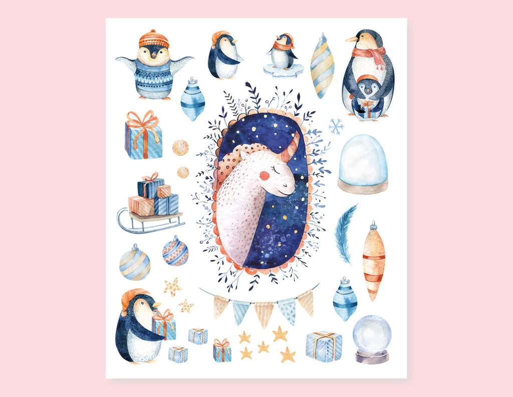PENGUIN AND UNICORN CHRISTMAS STICKERS