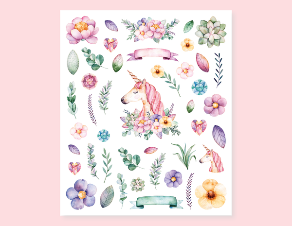UNICORN, FLOWERS AND BRANCHES STICKERS