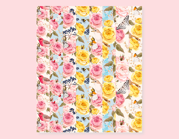 VINTAGE ROSES STRIPES STICKERS