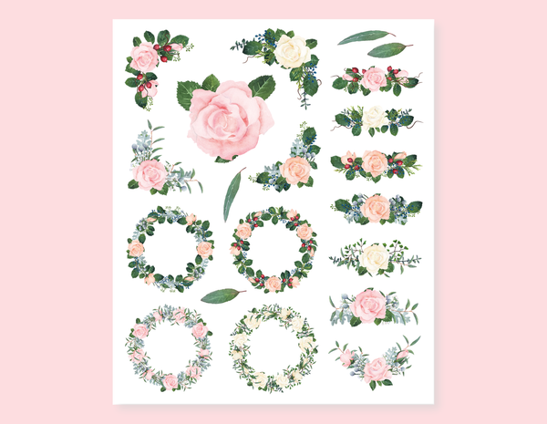 VINTAGE FLOWERS AND LEAVES BOUQUETS STICKERS