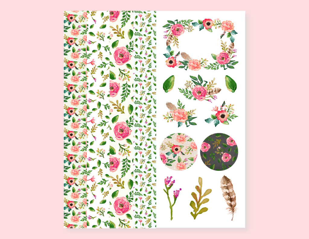VINTAGE FLOWERS STRIPES STICKERS