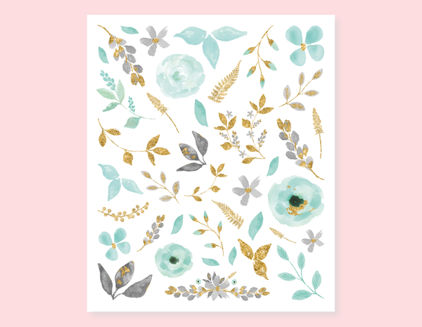 MINT VINTAGE FLOWERS STICKERS
