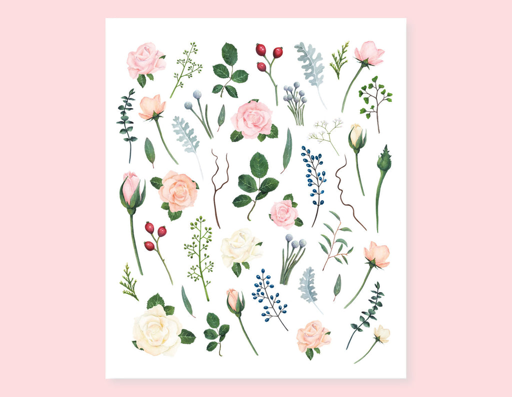 VINTAGE FLOWER AND LEAVES STICKERS