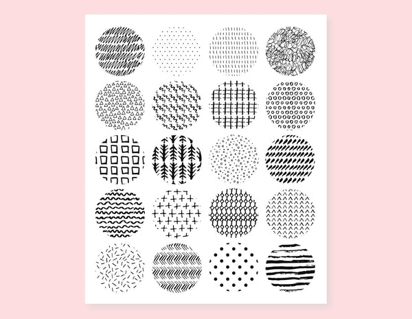 BLACK AND WHITE CIRCLES PATTERN STICKERS