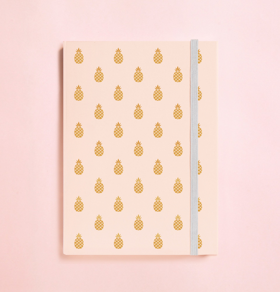 PINEAPPLE GOLD FOIL IN PEACH JOURNAL (FREE SHIPPING)