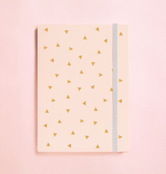 TRIANGLE GOLD FOIL IN PEACH JOURNAL (FREE SHIPPING)