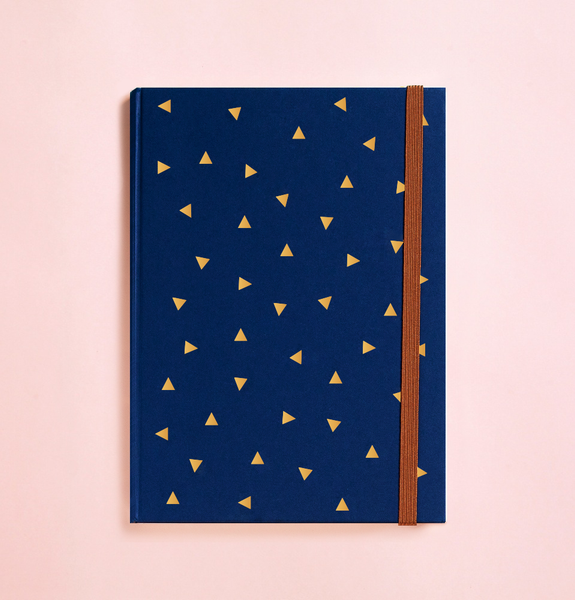 TRIANGLE GOLD FOIL IN NAVY BLUE JOURNAL (FREE SHIPPING)