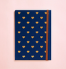 HEART GOLD FOIL IN NAVY BLUE JOURNAL (FREE SHIPPING)