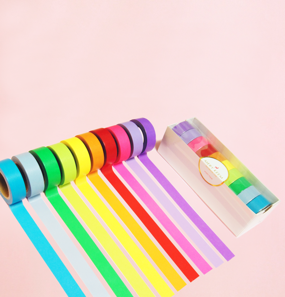 10 BASIC COLORS SET WASHI TAPES