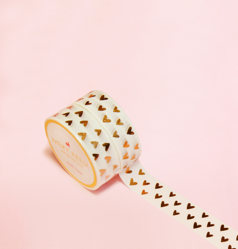 HEARTS GOLD FOIL WASHI TAPES