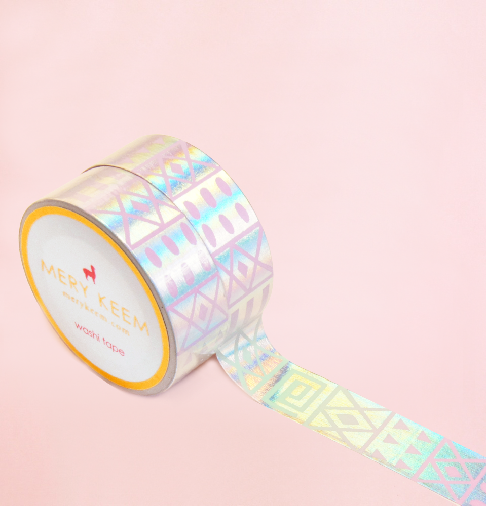 HOLOGRAM SHAPES PATTERN WASHI TAPES