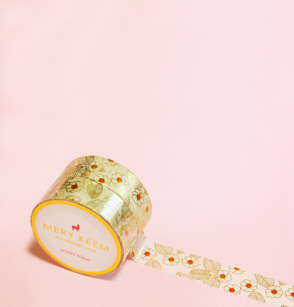 GOLD FLOWERS WASHI TAPES