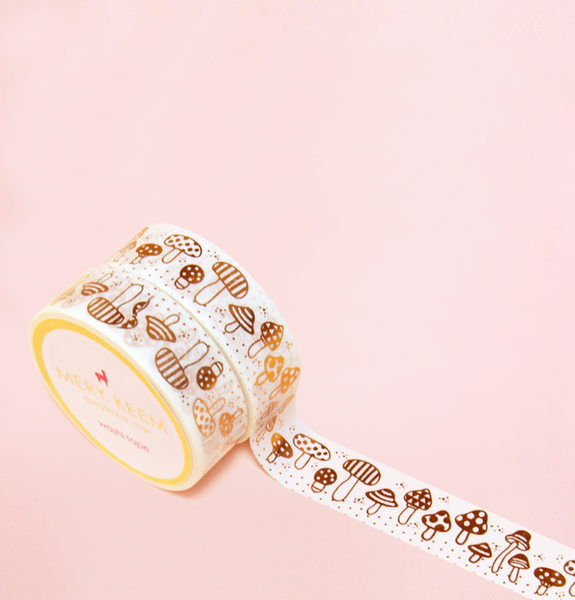 CUTE LITTLE MUSHROOMS IN ROSE FOIL WASHI TAPES
