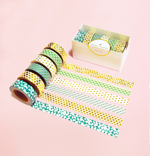 6 GOLD AND GREEN COLLECTION SET WASHI TAPES