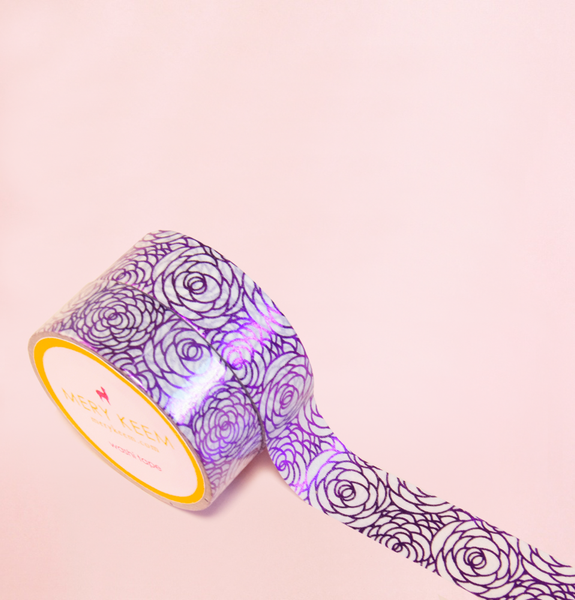 ROSES PURPLE FOIL WASHI TAPES