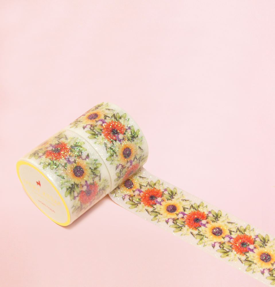 VINTAGE SPARKLING SUNFLOWER WASHI TAPES