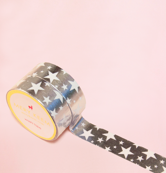 ROCK STAR SILVER FOIL WASHI TAPES