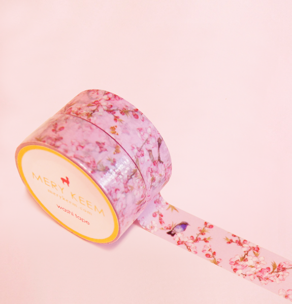 PINK FLOWERS AND BIRDS WASHI TAPES
