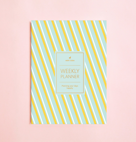 NEW! SUGAR STRIPES WEEKLY PLANNER WITH PVC COVER