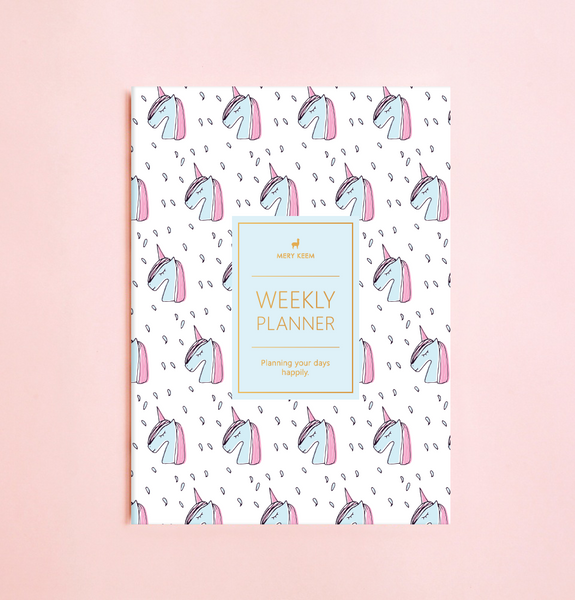NEW! UNICORN WEEKLY PLANNER WITH PVC COVER