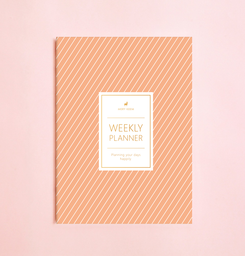 NEW! SALMON STRIPES WEEKLY PLANNER WITH PVC COVER
