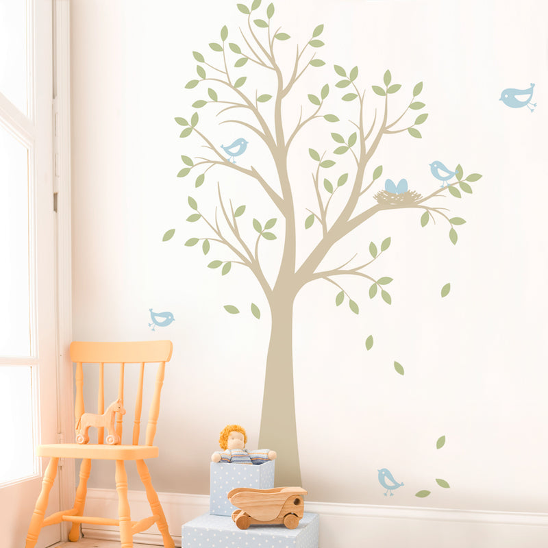 Tree Wall Decal with Birds and Nest