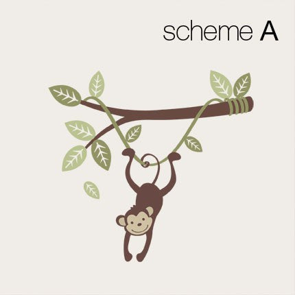 Monkey Wall Decal Hanging on a Branch Vine