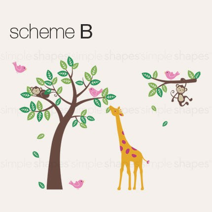 Tree Wall Decal with Monkeys Giraffe and Birds
