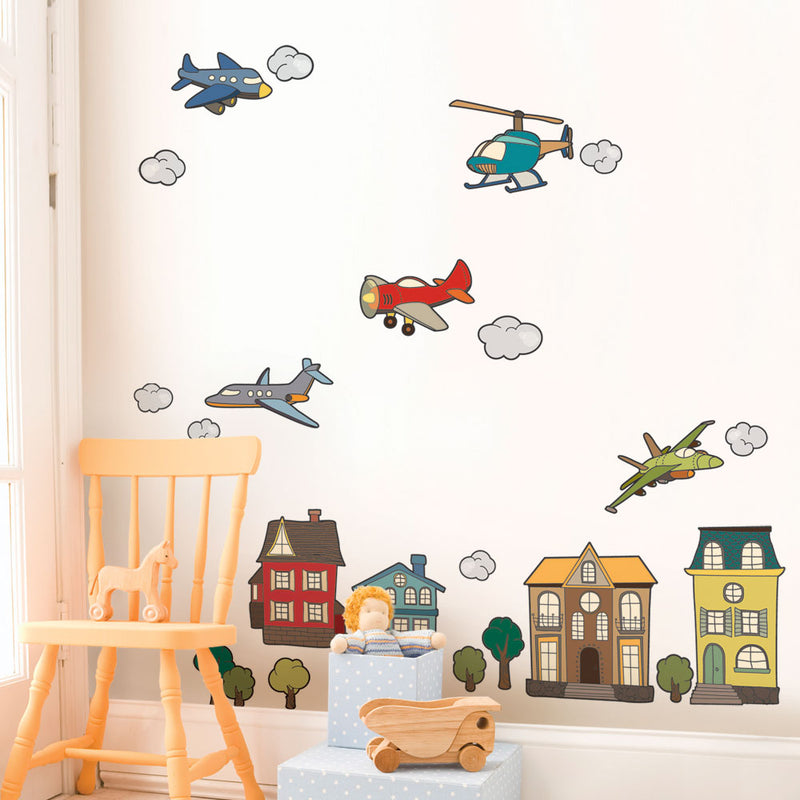 Airplanes and Helicopter Peel and Stick Wall Stickers