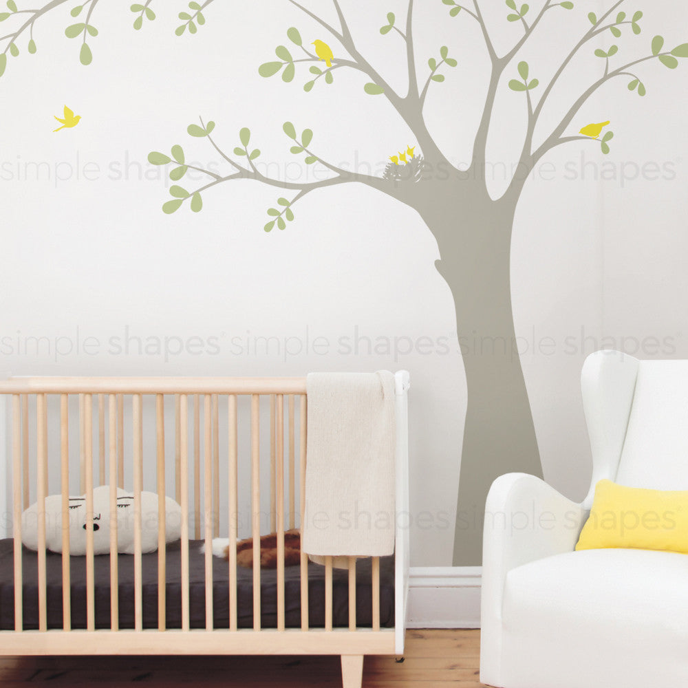 Ceiling Tree with Birds and Nest Wall Decal