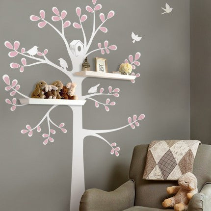 Shelving Tree Decal with Birds - New Style