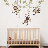 3 Monkeys Swinging From Vines Wall Decal